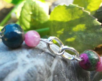 Labradorite bracelet, apatite, rubellite and Ruby zoisite. Jewel of protection and introspection