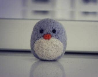 Grey Needle Felted Penguin Chick