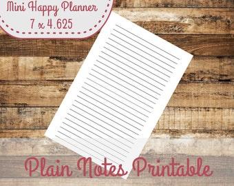 Notes Page Mini Happy Planner Size Insert, Mini Happy Planner Inserts - INSTANT DOWNLOAD