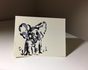 Elephant Greeting Card: Hand Printed