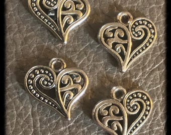 Antique Silver Heart Charms 4 Drops 15mm -  A36