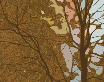 Forest Basilica, giclee art print, trees, woods, forest, landscape, abstract, brown, blue, pink