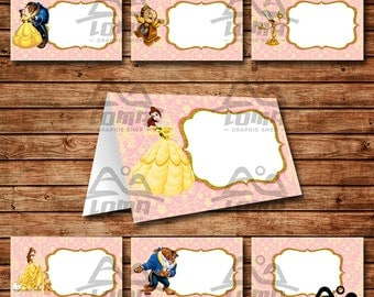Belle Birthday Tent Card, Belle Birthday, Disney Princess Tent Card, Disney Food Label, Beauty and the Beast