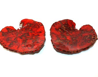 Stunning pair of ceramic hand made leaf bowls