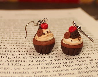 Food Jewelry Chocolate Cupcake Earrings, Miniature Food, Food Jewelry, Polymer Clay Earrings, Cupcake Jewelry, Polymer clay earrings