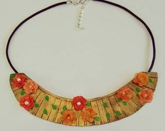 Collar bib, gold colour with orange flowers, made with paper