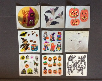 Sandylion vintage rare shiny, paper and fuzzy Halloween stickers