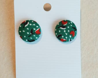 Green with red flowers, stud earrings