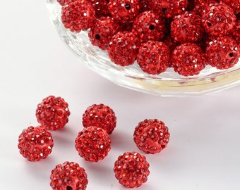 50 beads, Red Rhinestone Clay 10mm Pave beads