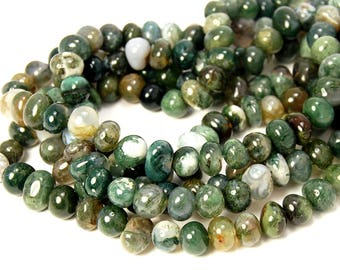 "Two 15.5"" Moss Agate Nugget Beads"
