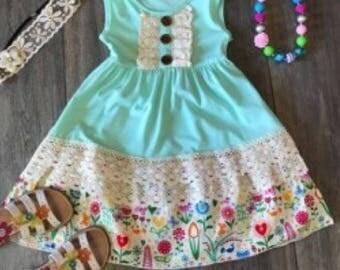 Adorable Flowery Mint Dress