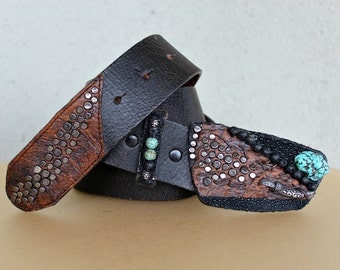Handmade Stingray, Sedona Turquoise and Sterling Silver Horn Belt Buckle