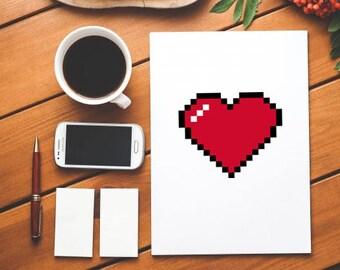 Pixel Heart Card - 8bit Heart