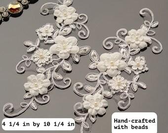 Off-White 3D Lace Applique Pair/Alencon Lace Applqiue/Floral Lace Applique/Bridal Applique/Wedding Applique/Bridal Headpiece By PairALA-15