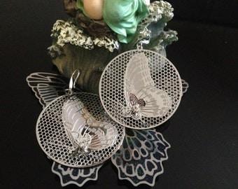 Print earrings filigree butterflies