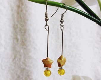 Yellow Origami Star Earrings