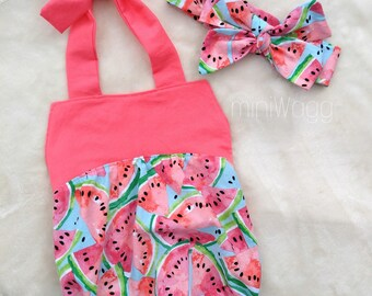 Baby Bib Romper / Watermelon / pink / green / lime / summer romper / baby girl / made to order