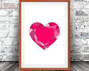 Gemstone Heart Print, Geodesic Heart Art, I Still Love You and I Always Will, Nursery Decor, Valentines Day, Digital Download, XOXOXOXOXOXOX
