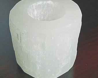 Selenite candle holder tealight
