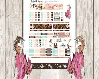 Glam Wanderer Light A6 Printable Planner Stickers/A6 Traveler Notebook/Monthly Kit/AnniesPrintables/May Glam Fashion Boho Travel Glitter TN