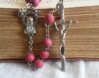 Red Bead Rosary, 5 Decade Vintage Rosary, Jesus, Virgin Mary, Red Rosary, Catholic Prayer Beads, Religious Jewellery