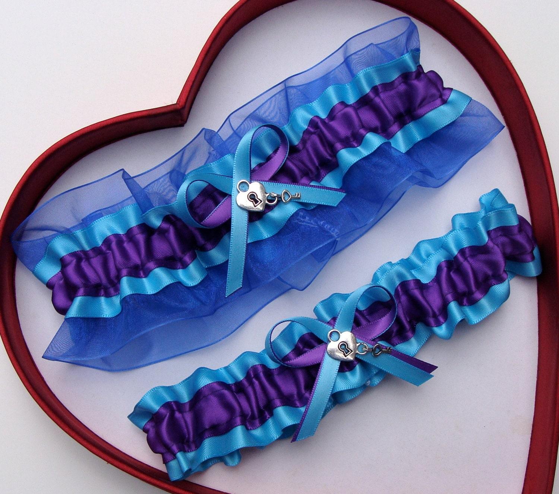 New Purple Turquoise Royal Blue Wedding Garter Prom
