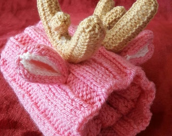 Reindeer Dog Snood WHIPPET or similar dog sized with Antlers. Hand Knitted. Neckwarmer Neckwear Infinity Scarf  Pink