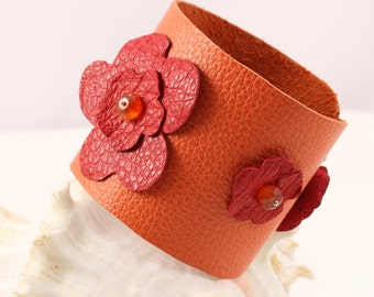 FUN LEATHER BANGLES  Handmade, Real Leather Bangles, Leather Flower Bracelet, Girls Leather bracelet, Orange leather bracelet