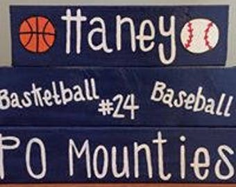 Personalized Sports Stacking Blocks Primitive/ Country/ Custom Wood Block Set Stacker