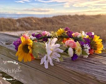 "The ""Melody"" floral halo crown // Coachella flower crown, festival crown, spring garden wedding, boho wedding, beach wedding, summer wedding"