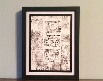 Square Pattern with Abstract Landscape Border- Original Relief Print