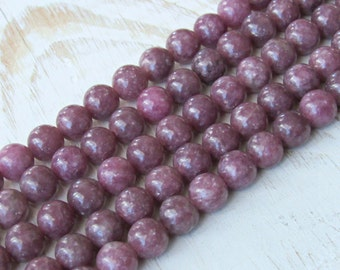 8mm Lepidolite beads, 8mm gemstone beads, full strand, AA quality, pink stones, natural lepidolite, round beads, jewelry supplies, mala