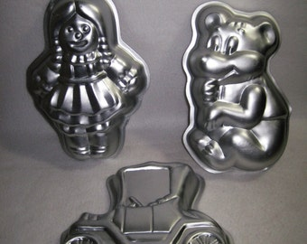 Wilton 1975 Toy Cake Pans - Old Time Car 508 434, Teddy Bear 508 477 and Rag Doll 508 450
