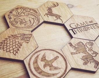 Game Of Thrones set of 6 hexagonal Coasters