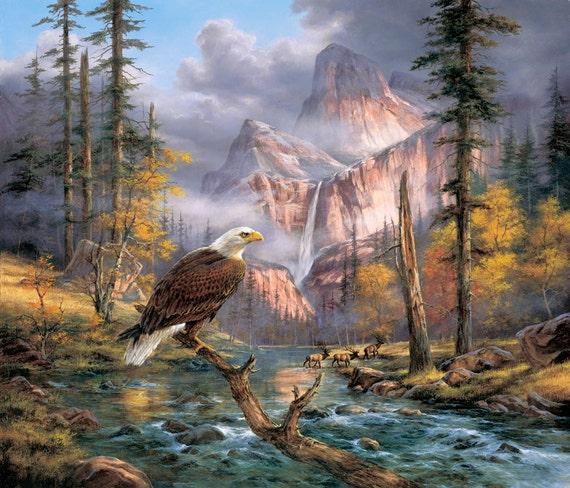 Cross stitch eagle - Cross stitch bird - Counted cross stitch pattern - Cross stitch nature - Landscape stitch - Mountain stitch - Printable