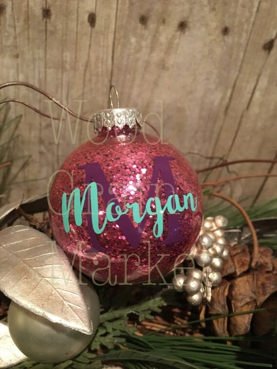 Personalized Christmas Ornament, ball ornament, monogrammed glitter ornament