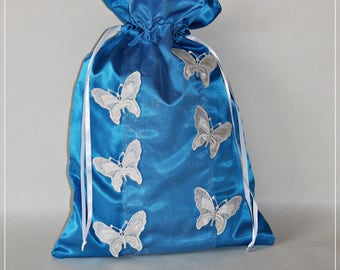 blue satin lingerie bag pouch
