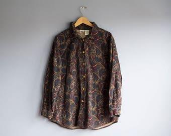 70s Loose Paisley Shirt   Funky Corduroy Buttondown blouse   1970s Disco Oxford shirt