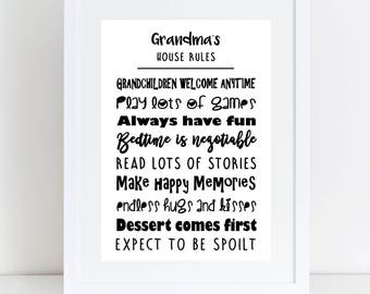 A4 Personalised Grandparents House Rules Print, Collage Print