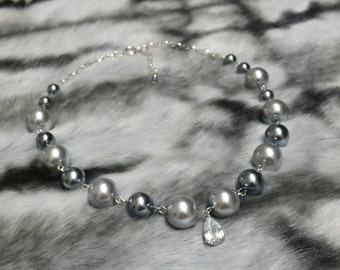 Bridal Necklace, Wedding Pearl Necklace, Sterling Silver Chain Necklace. AMELIA.