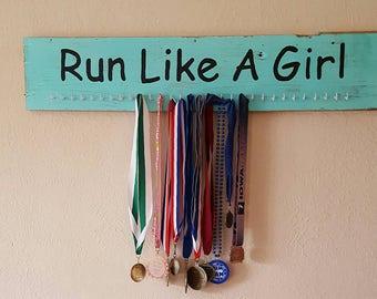 Medal Display,  Running Marathon Distance Runner, Run Like a Girl, Running Medal Holder, Running Lanyard Medal
