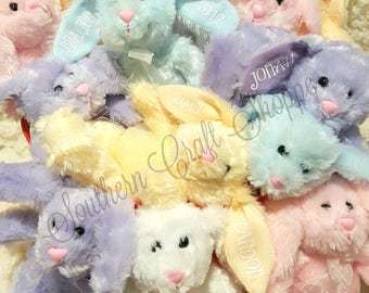 EASTER Plush Bunnies,PERSONALIZED with First Name & Year,Many Colors to Choose,Bunny Rabbit,Soft,Baby,Basket Stuffer,Filler,Spring Stuffed..