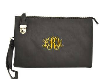 Black handbag with monogramming