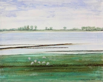 Baltic Sea coast with sheep original oil on canvas artist Volker Mayr
