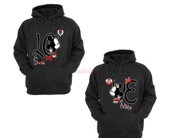 Mickey Minnie Kissing Hoodies T Shirt Mr Mrs Raglan Couple Hoodies pärchen pullover Couple Sweatshirts Couple King Queen Hoodies
