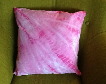 Bright pink, tie dyed, cushion cover