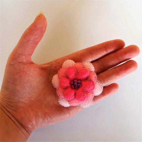 Pink Plush Flower Brooch