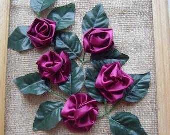 "Satin Ribbon Artwork, picture, hanging  ""ROSES"", satin roses, 2 candlers"