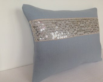 Grey Melton wool cushion with gold sequins