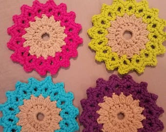 Hand Crocheted Cotton Coasters